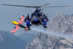 Members of the Flying Bulls, Marco Waltenspiel, Felix Seifert, Marco Fuerst, Mirko Flaim and Dario Costa seen during a trainings session for the AirPower 2019 in Aigen im Ennstal, Austria on July 25, 2019.